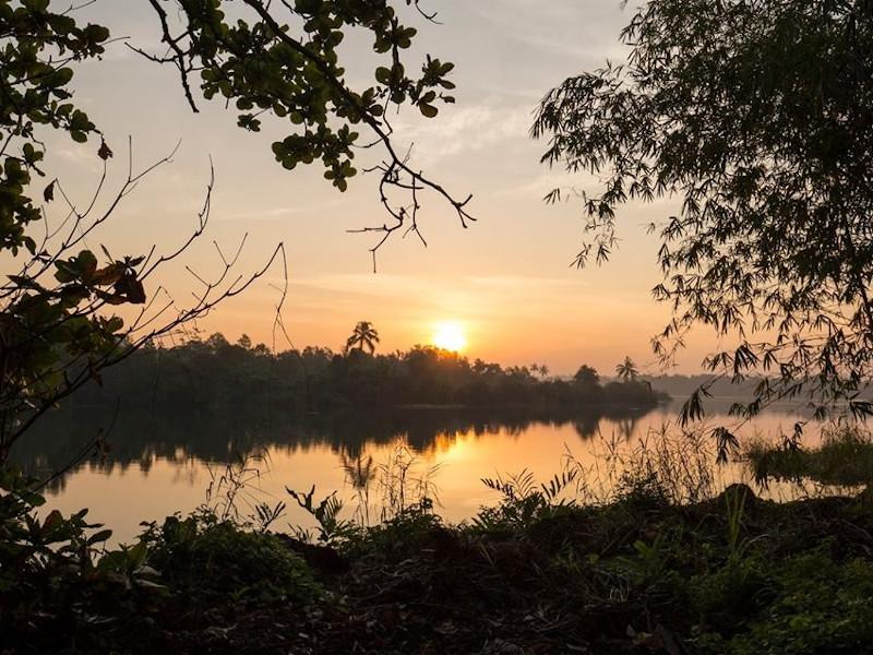 Coucher de soleil sur le lac de Bolgoda au Sri Lanka